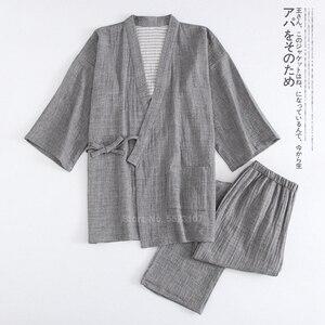 Традиционное японское кимоно для мужчин, пижамный комплект, однотонная одежда для сна из чистого хлопка в стиле самурая, комплект для купан...
