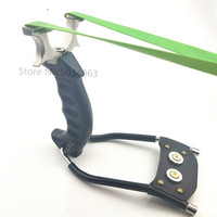 Powerful outdoor hunting slingshot stainless steel catapult hand held bow with rubber band outdoor hunting shot