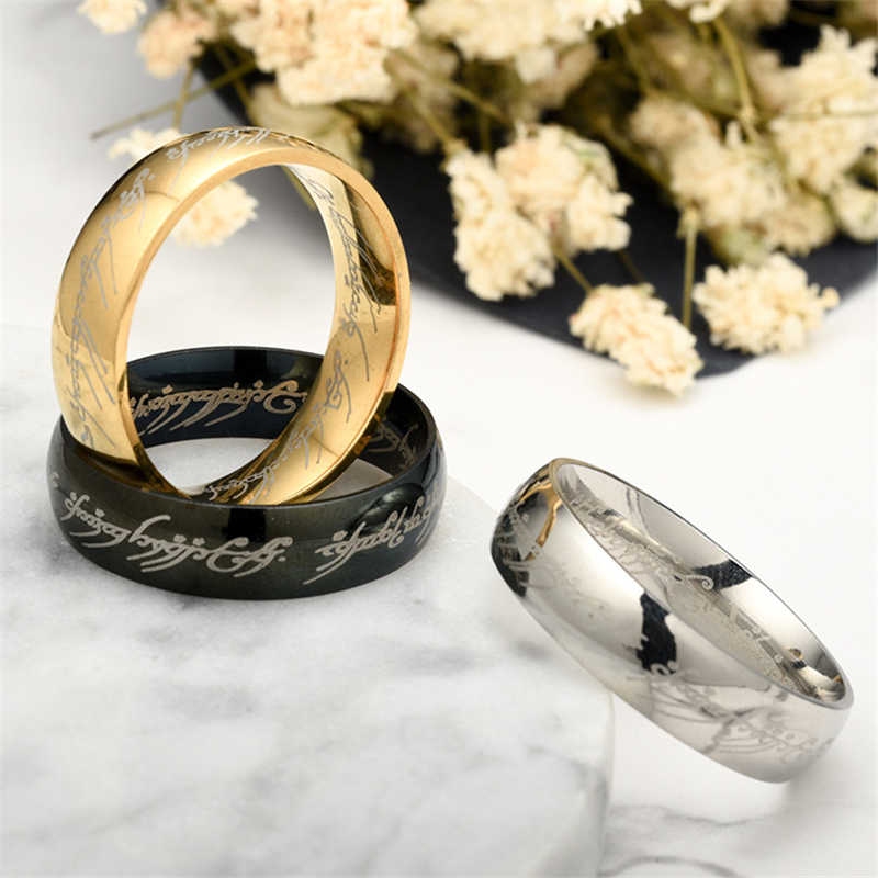 Fashion Lord Of The Rings Titanium Steel Gold Rings For Women Men Simple Silver Ring Jewellery Engagement Ring Personality Gifts