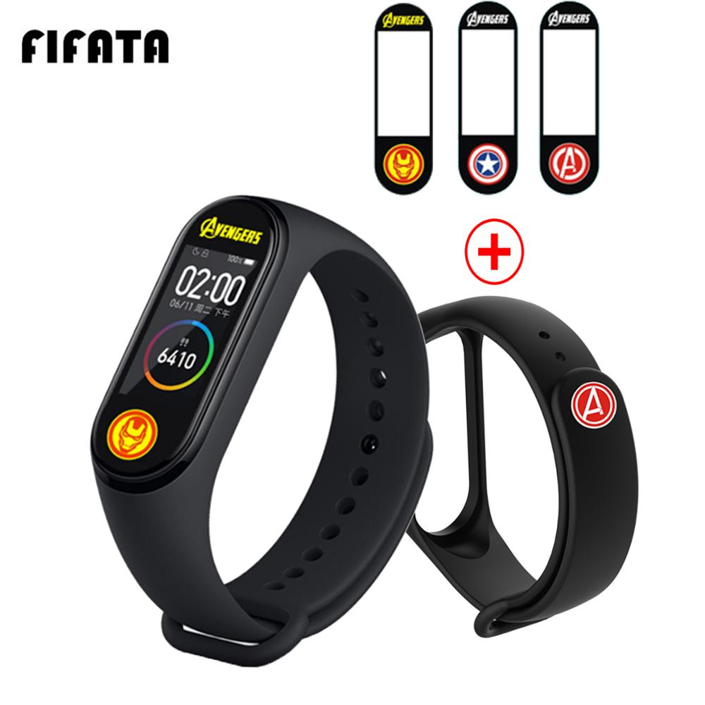 FIFATA 2 In 1 The <font><b>Avengers</b></font> Watch Protective Film+The <font><b>Avengers</b></font> Watch <font><b>Strap</b></font> For <font><b>Xiaomi</b></font> <font><b>Mi</b></font> <font><b>Band</b></font> <font><b>4</b></font> Smart Watch Replace Accessories image