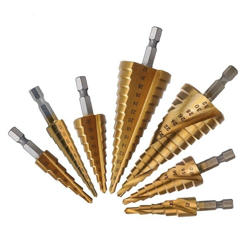 HSS Titanium Step Drill Bits For Metal Wood Hex Shank Stepped Bit 3-12/4-12/4-20/4-32 Carpenter Tools  Auger Center Drill Hole