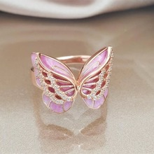 Diamond ring rose gold rings Crystal moissanite New butterfly Epoxy Mens Accessories Indian Beads opal  diamond CY485