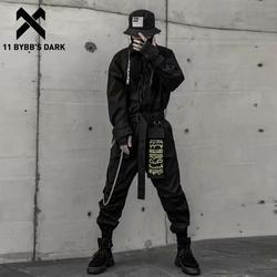 11 BYBB'S Темный хип-хоп комбинезон для мужчин с вышитой лентой с длинным рукавом комбинезон на молнии карго комбинезоны уличная одежда Techwear ко...