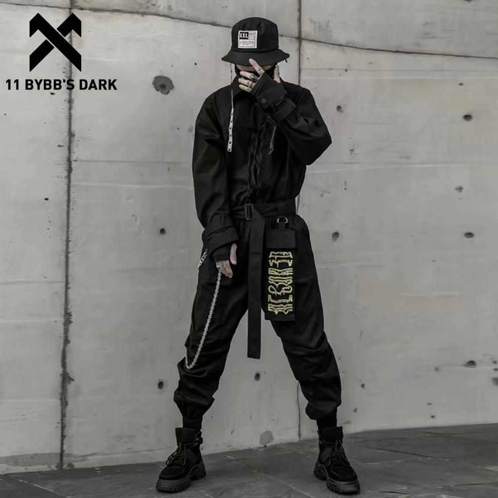 11 BYBB'S DARK Hip Hop Jumpsuit Men Ribbon Embroidered Long Sleeve Romper Zippers Cargo Overalls Streetwear Techwear Jumpsuits
