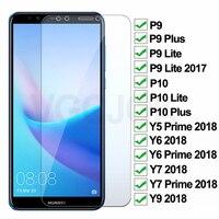 Dureza 9H vidrio templado para Huawei P9 P10 Lite Plus cristal Protector para Huawei Y5 Y6 Y7 primer Y9 2018 película protectora