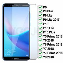 9H twardość szkło hartowane dla Huawei P9 P10 Lite Plus szkło hartowane dla Huawei Y5 Y6 Y7 Prime Y9 2018 folia ochronna tanie tanio VGCJOK Przedni Film P9 lite Anti-Blue-ray