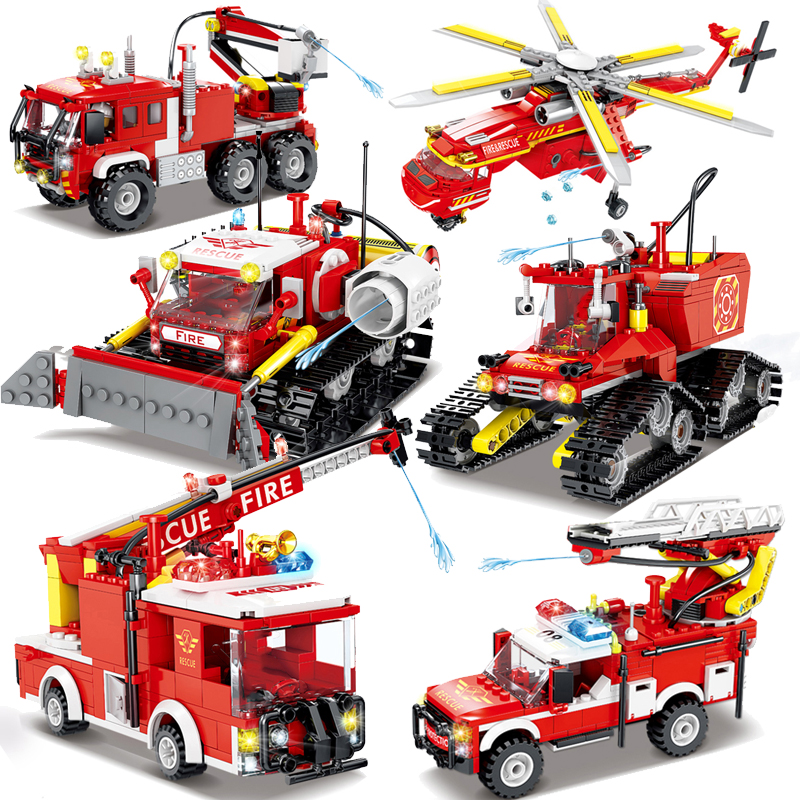 Fire Police Fighting Rescue Trucks Car helicopter Building Blocks compatible City Firefighter Bricks children Toys Christmas
