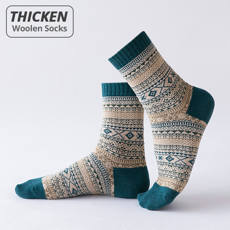 HSS Brand 5 Pairs Winter Men's Socks Thicken Sheep's Wool Socks Warm Men Retro Style Colorful Fashion Man Socks For Snow boots
