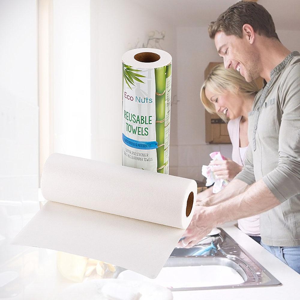 toallas de papel respetuosas con el medio ambiente m/ás absorbente y resistente a las rasgaduras que las toallas de cocina convencionale Pandoo Rollo de cocina bamb/ú Toallas lavables para el hogar reemplaza hasta 60 rollos dom/ésticos