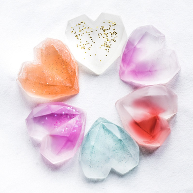 SILIKOLOVE 8 Cavity Diamond Heart Silicone Soap Mold For Soap Making DIY Handmade Tray Soap Moulds
