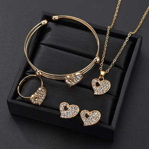 Anniversary Jewelry-Set Crystal Gifts Party Wedding Gold-Color Heart Women Engagement