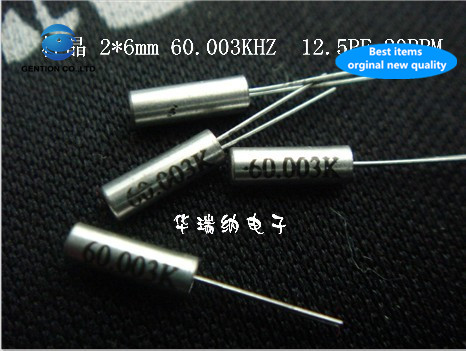 30pcs 100% New And Orginal Cylindrical 60.003KHZ Crystal Passive In-line Spot 2X6mm DT-206 TF-206 60.003K