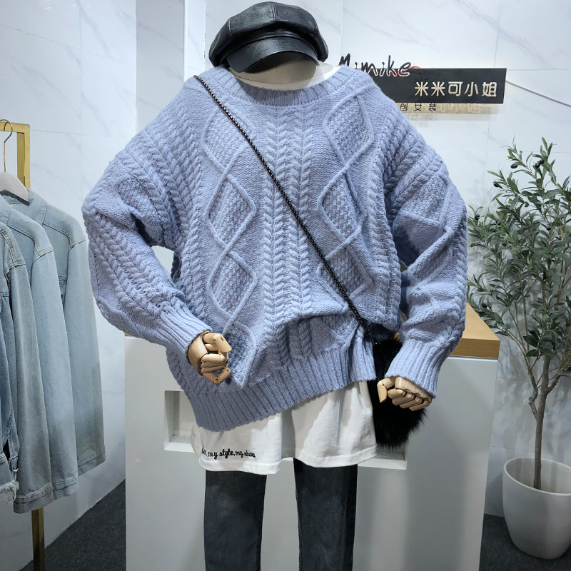 New 2020 Autumn Winter Women Pullovers Sweater Knitted Casual Jumper Fashion Loose Solid Color Warm Female Jumper Pink Blue
