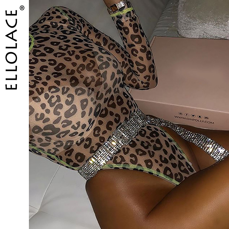 Ellolace <font><b>Sexy</b></font> Leopard Mesh Bodysuit Transparent Long Sleeve Body for <font><b>Women</b></font> Neon <font><b>Green</b></font> Slim Fitness Overalls New Female Catsuit image