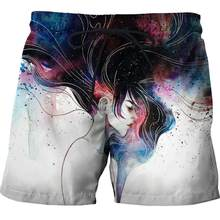 Dropshipping USA Size Mens Colorful Ink head Beach Shorts Summer Digital Printing Quick Dry Swim Trunks Workout Motion Shorts(China)