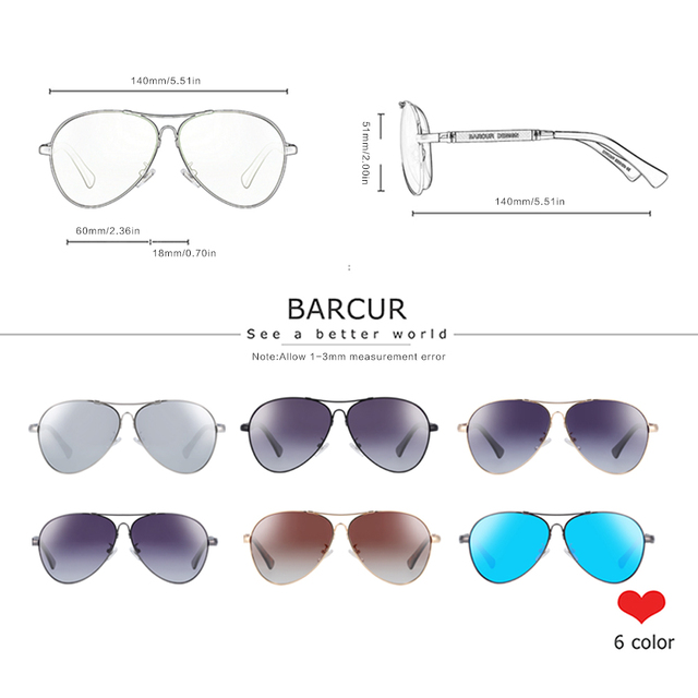 BARCUR Design Titanium Alloy Sunglasses Polarized Men's Sun Glasses Women Pilot Gradient Eyewear Mirror Shades Oculos De Sol 3