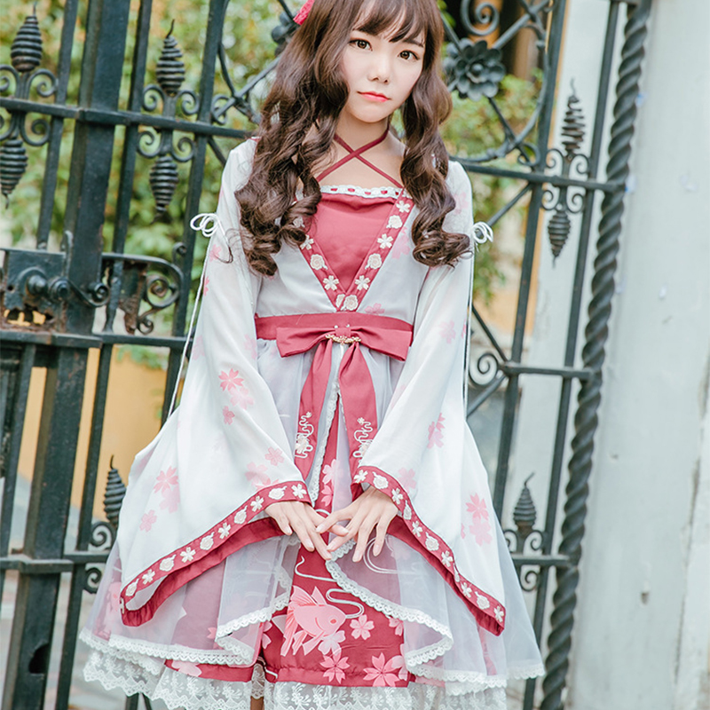 Chinese Style Vintage Sweet Lolita Dress Cute Embroidery Printing Bowknot Victorian Dress Kawaii Girl Gothic Lolita Op Loli Cos