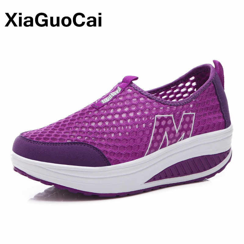 ฤดูร้อนผู้หญิงรองเท้ารองเท้าผ้าใบ Breathable ความสูงเพิ่ม Loafers ขนาดใหญ่แพลตฟอร์ม Wedges ตาข่ายเดินรองเท้า