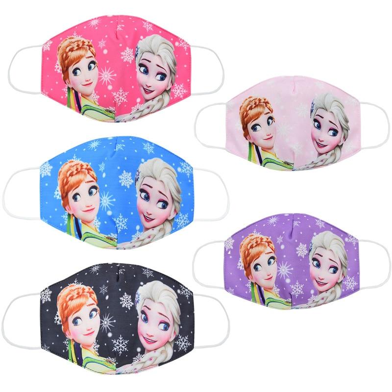 Disney Frozen Elsa Anna Kids Mask Cartoon Anti-haze Mouth Face Mask Reusable Washable Dust-proof Protection Kids Cosplay Masks