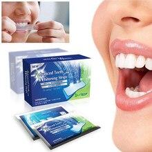 14 pçs/caixa avançado dentes branqueamento tiras dente descorante remoção de mancha para cuidados de higiene oral branco gel tira dental clareador dentes