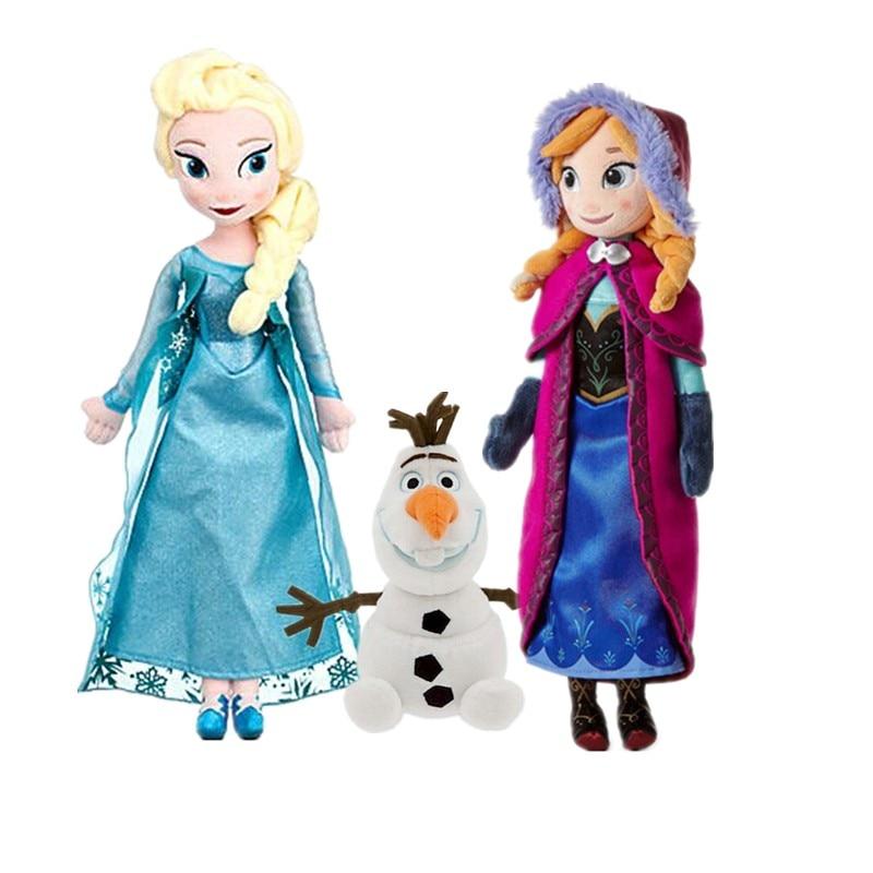 Anna& Elsa Plush Doll Olaf Plush Toys Unique Gifts Cute Girls Toys Princess Doll Girl Birthday Gifts Pelucia Boneca Juguetes