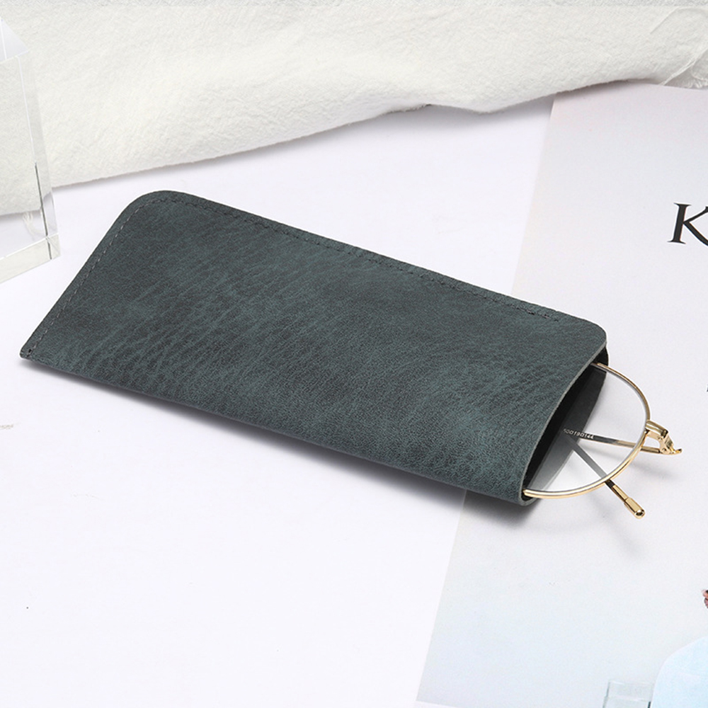 Soft Leather Reading Glasses Bag Case Waterproof Solid Sun Glasses Pouch Simple Eyewear Storage Bags Eyewear Accessories 1 Pcs