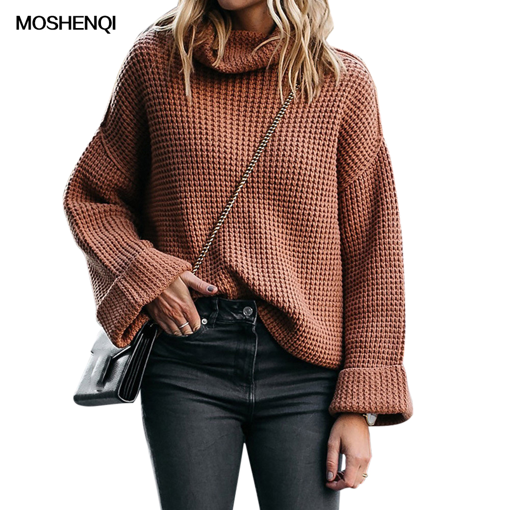 MOSHENQI Sweaters Female Knitted Turtleneck 3XL Plus Size Solid Loose Sweater Ladies Jumper Pullover Women