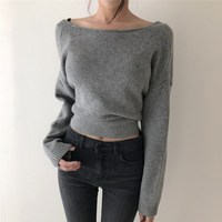 Women V Neck Lace Up Knitted Sexy Sweater Solid Irregular Hem Backless Sweater Korean Long Sleeve Oversize Sweater