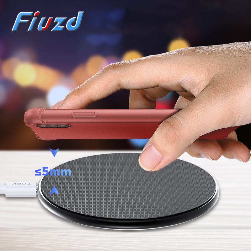 Fiuzd 10W Fast QI Wireless Charger For Samsung Galaxy S9/S9+ S8 Note 9 S7 Edge Wireless Charging Pad for iPhone X 8 Plus