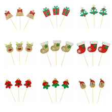 10 pieces Christmas Cupcake Toppers Picks Glitter Santa Claus Christmas Tree Bells Cake Topper Decoration For Home Party christmas bells tree santa claus zip up hoodie