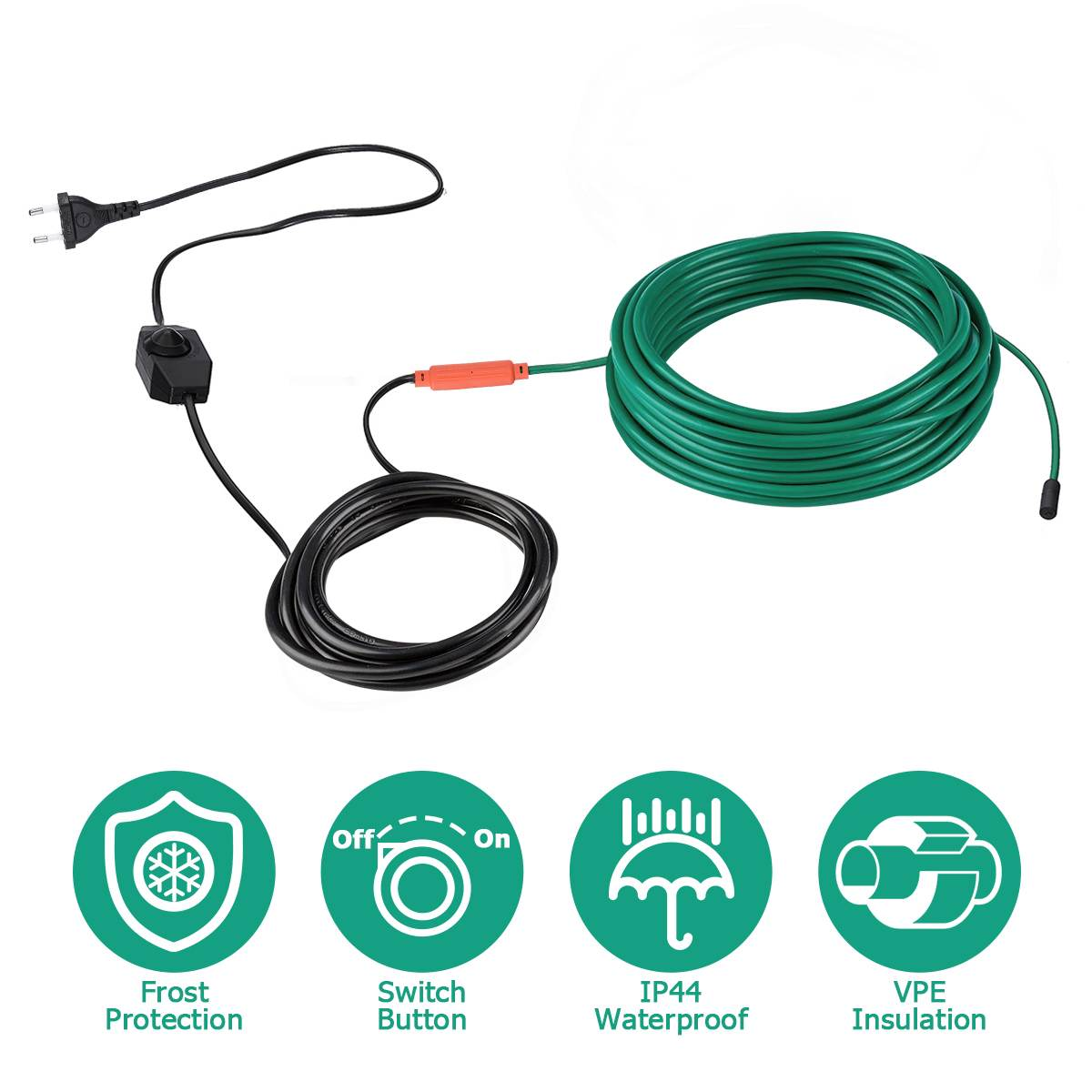 220V EU Plug-in Power Cord Self Regulating Heating waterproof Cable for Water pipe Freeze Protection, Reptiles Pets Heating
