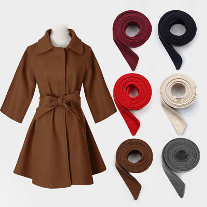 Women Girls Woolen Waist Belt Jacket Belt Solid Color Wide Waist Band For New Overcoat Accessories