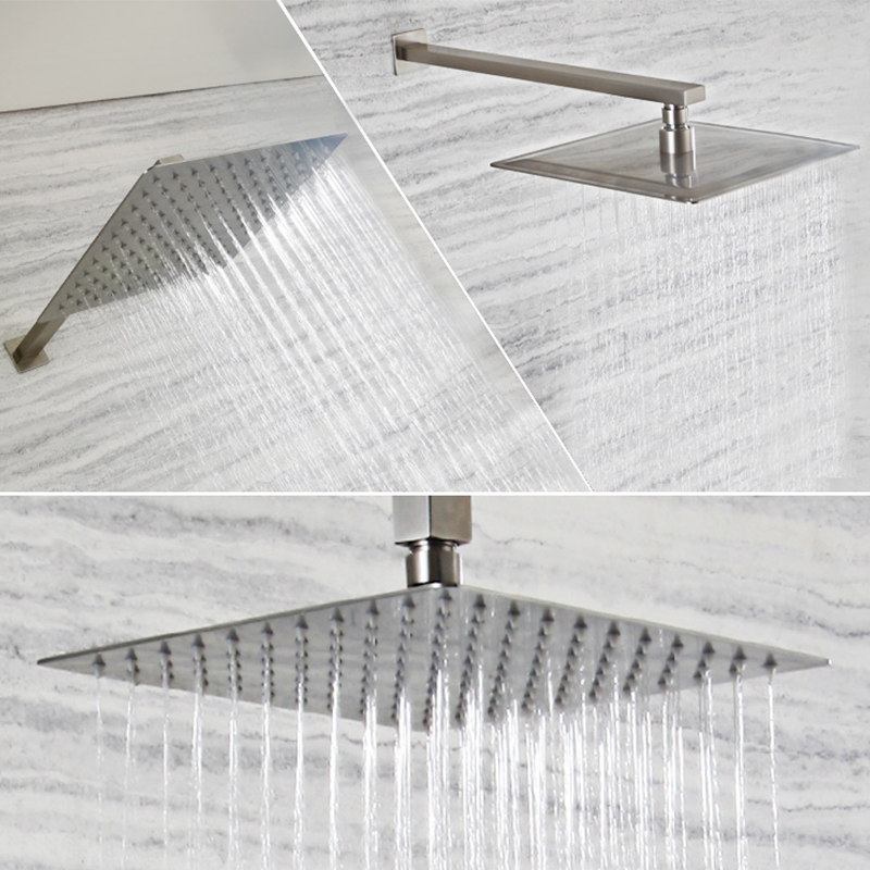 Shower-Head Arm-Wall-Mounted Nickel Brushed Square Stainless-Steel Wholesale