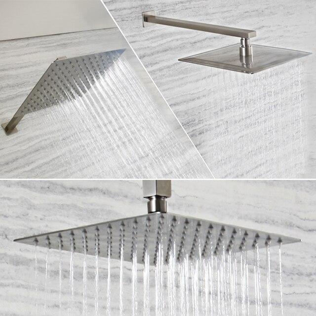 起毛ニッケルステンレス鋼の正方形のシャワーアームシャワー壁は、マウント天井シャワーアーム卸売