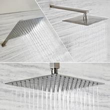 Brazo para ducha cuadrado de acero inoxidable y níquel cepillado, brazo para ducha montado en el techo, montado en la pared, venta al por mayor