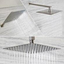 Chuveiro quadrado, níquel escovado aço inoxidável braço montado na parede braço para teto chuveiro montado no teto braço