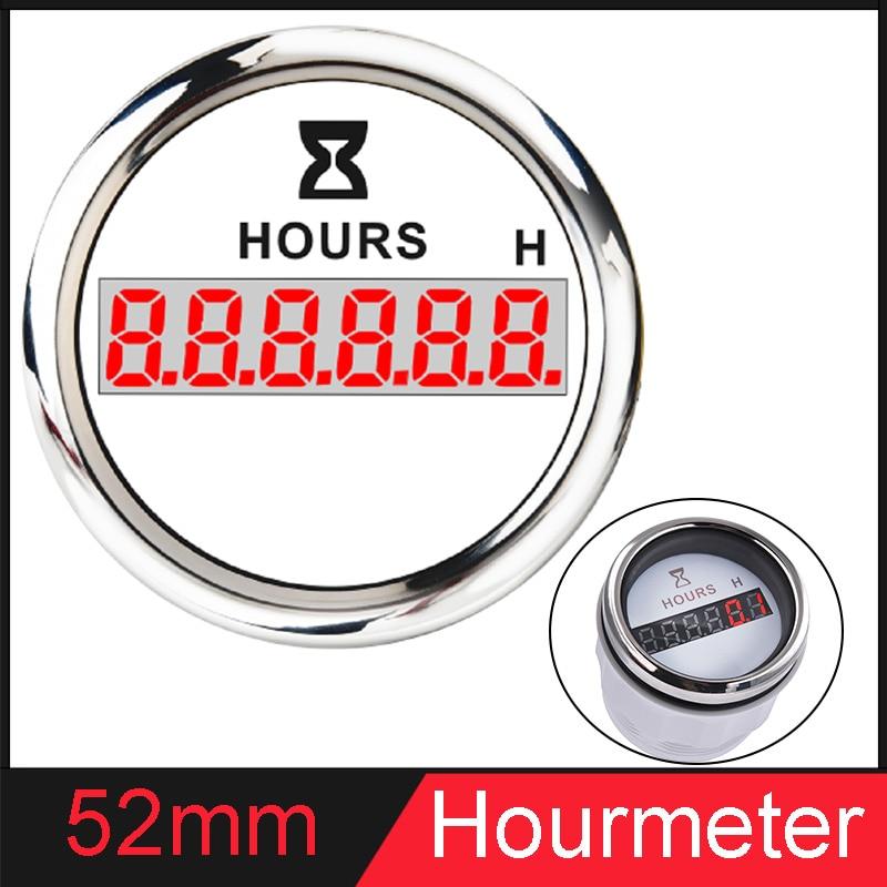 Automotive Instrument Hour Gauges 52mm Digital Hour Meters 0-99999.9H Display Waterproof Clock Gauge Hourmeter 9-32V