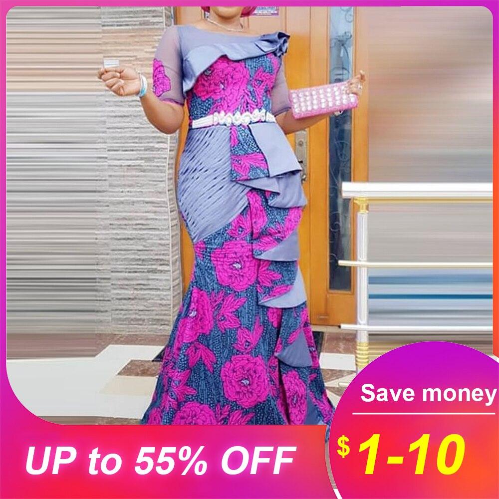 Женское длинное Макси платье 2019, сексуальное, с открытыми плечами, женское, с оборками, вечернее, для рождественской вечеринки, платье, Африканское, фиолетовое, вечерние платья