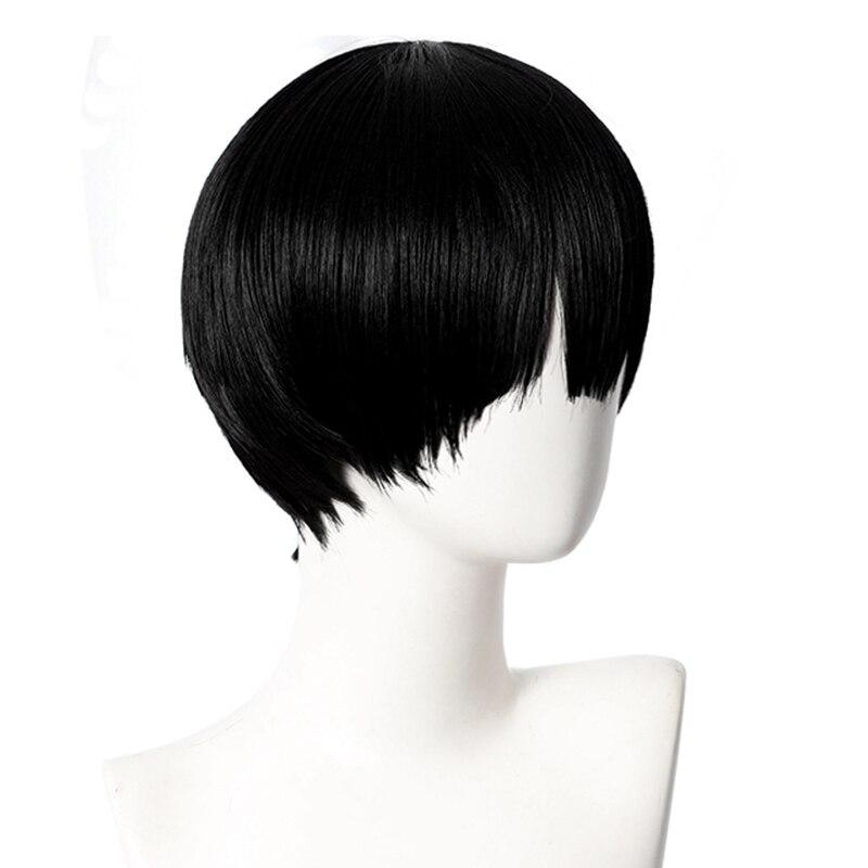 Hanako Kun Cosplay Men 32cm Short Black Wig Anime Jibaku Shounen Hanako-kun  Cosplay Wig Heat Resistant Synthetic Wigs