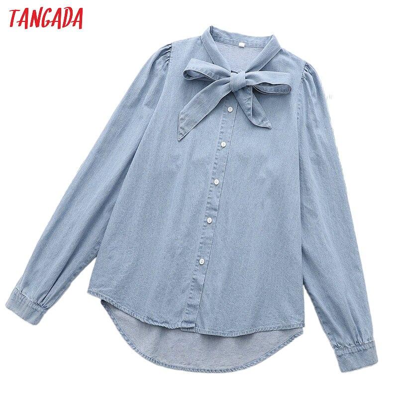 Tangada Women Retro Blue Bow Denim Blouse Long Sleeve Chic Female Casual Loose Shirt Blusas Femininas 1D177
