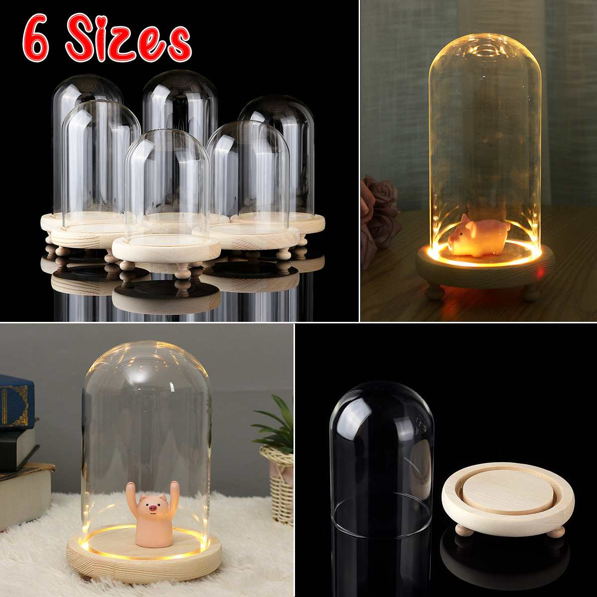 6 Style Decoration Glass Dome Display Bell Jar Cloche Wooden Base  Light Dust Cover DIY Gift For LED Light