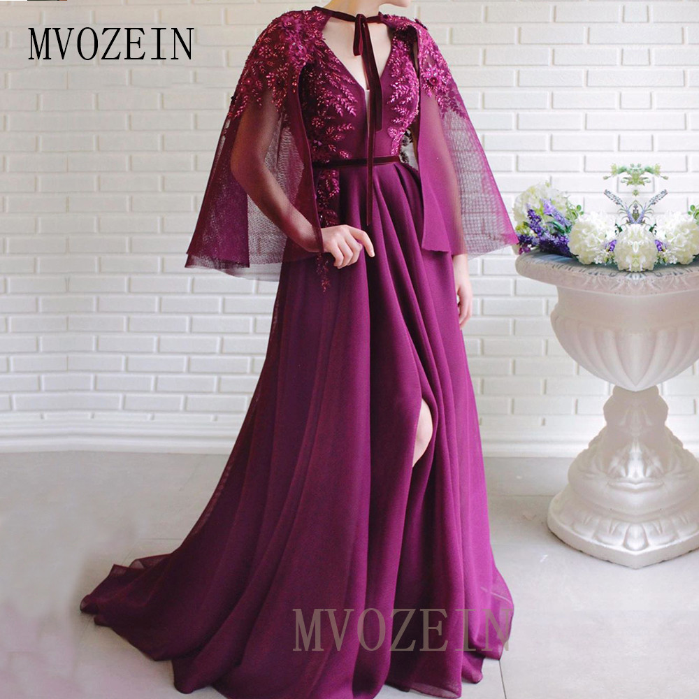 Party-Gown Burgundy Evening Dresses Lace Appliques Beaded Long Evening Dress With Jacket Elegant Formal Gowns Robe-de-soiree