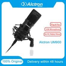 100% Original Alctron Um900 Professional Recording Microphone Pro USB Condenser Microphone Studio Plug & Play 16bit/48KHZ Audio original samson c01u pro usb studio condenser microphone for youtube videos
