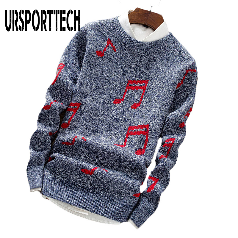 High Quality Sweater Men Musical Note Print Sweaters Slim Fit O-Neck Pullover Mans Clothes 2019 Long Sleeve Sweaters For Male