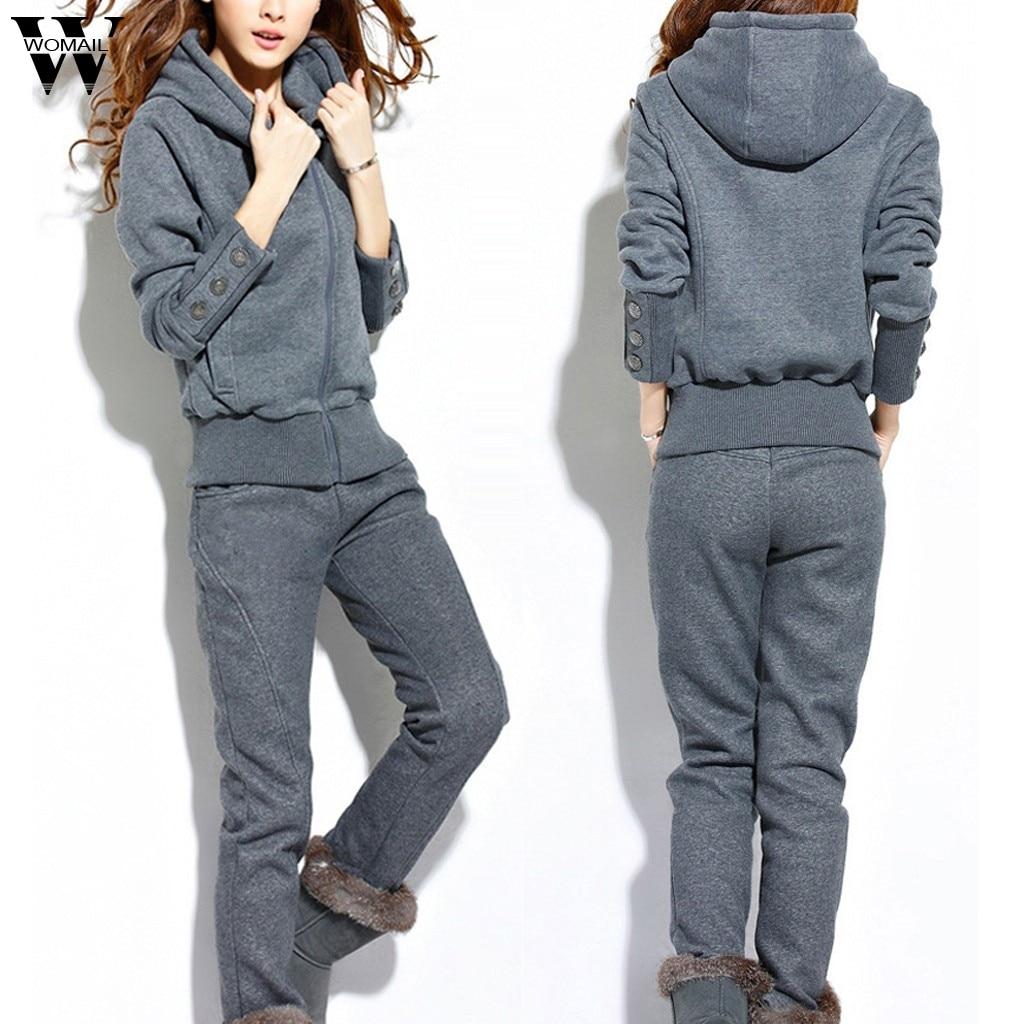 Womail Women Tracksuit Autumn Winter Warm Two Pieces Zipper Hooded Sweatershirt Suit+long Pant Set 2PCS Set Sportwear Outfit 924
