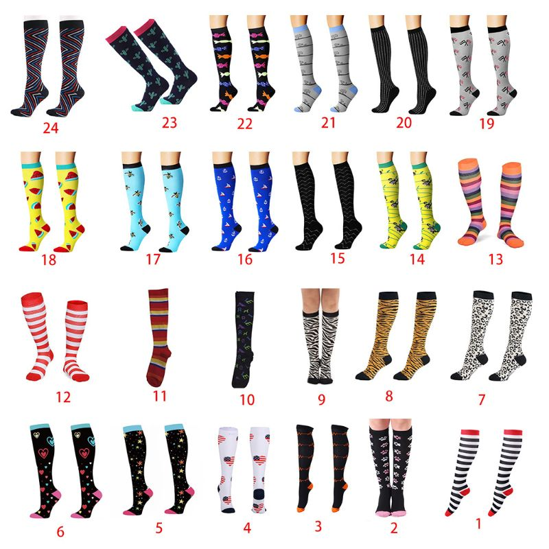 Men Funny Compression Knee High Socks Cartoon Stripes Heart Patterned Travel Cycling Nurse Pain Relief Sports Tube Stockings