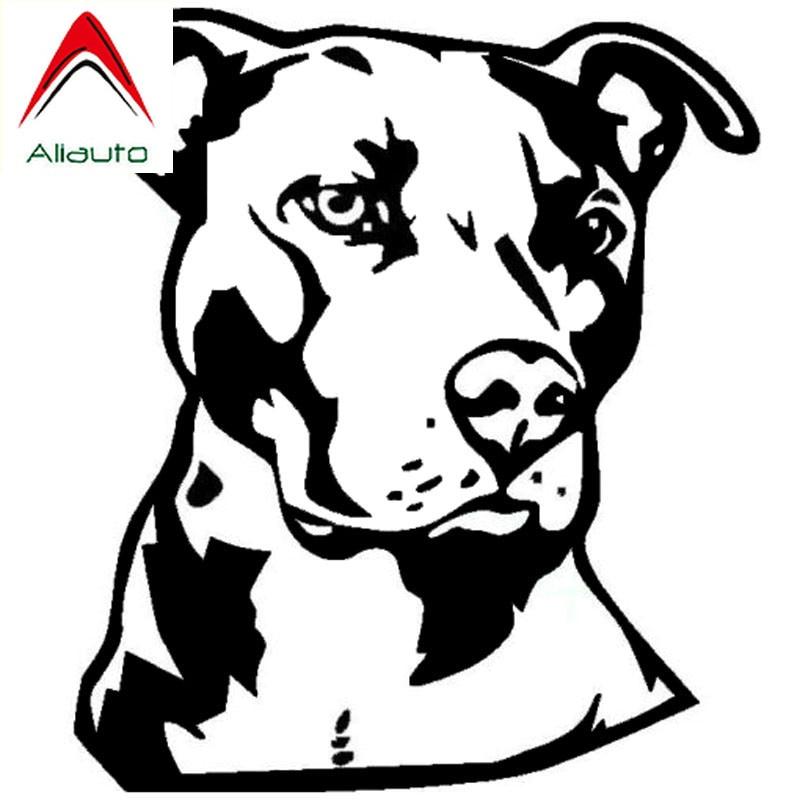 Aliauto классические персональные наклейки для автомобиля, Виниловая наклейка на лицо питбуля, автомобильные аксессуары для животных, черный/...
