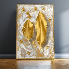 Nordic Golden Leaf Wall Art Pictures Wall Art Canvas Paintings Posters Wall Art Prints Living Room Home Decor Unframed(China)