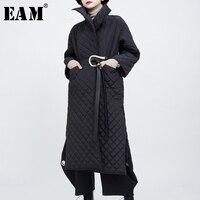 Женское пальто с хлопковой подкладкой [EAM], черное Свободное пальто большого размера с длинным рукавом, модная новинка осень-зима 2020 1N035
