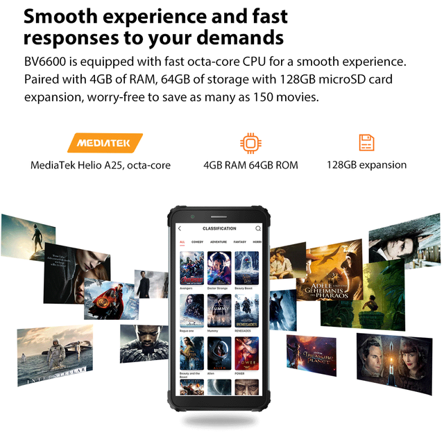 """Blackview BV6600 IP68 Waterproof 8580mAh Rugged Smartphone Octa Core 4GB+64GB 5.7"""" Mobile Phone 16MP Camera NFC Android 10 4"""